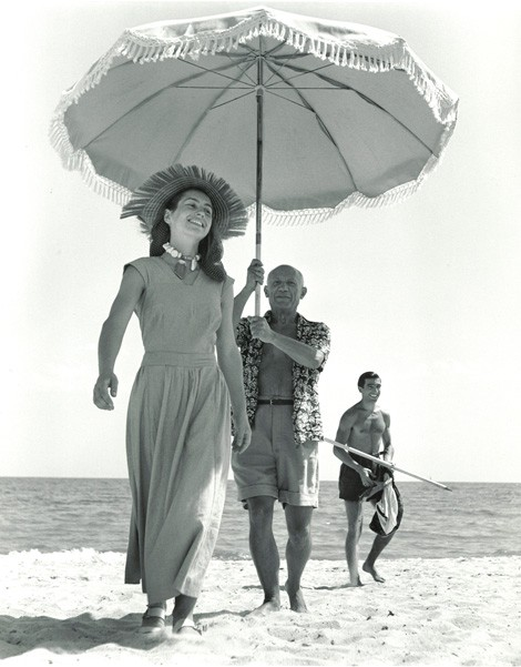 Robert Capa - Pablo Picasso and Francoise Gilo, Golfe-Juan, France, August 1948