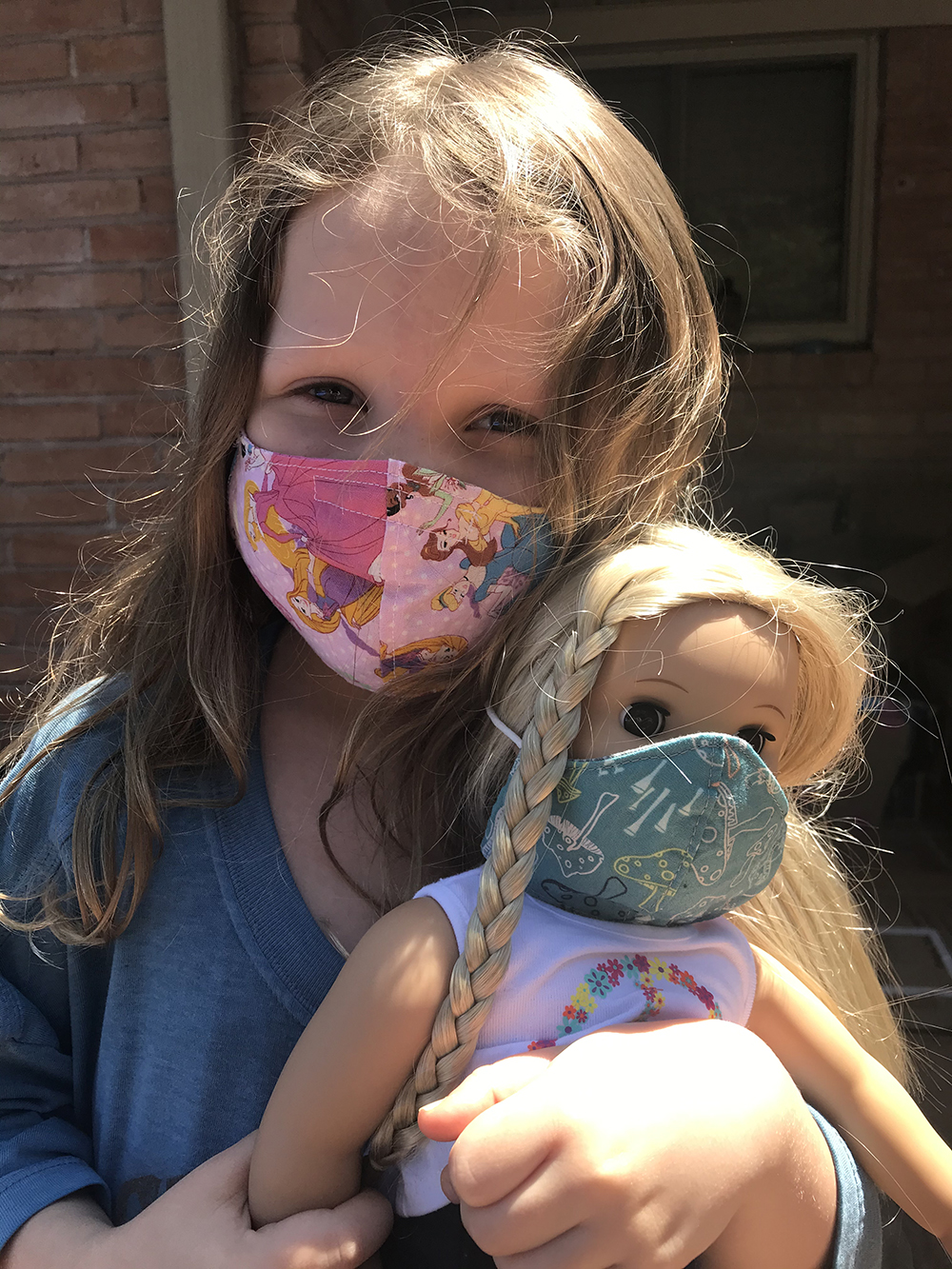 Charlotte and American Girl Doll with Face Masks