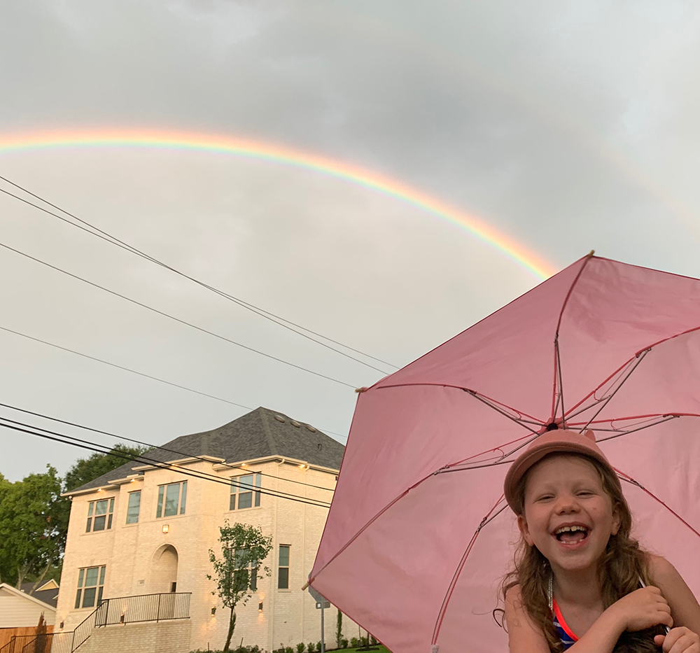 Charlotte with rainbow