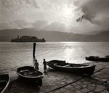 Jerry Uelsmann Untitlted Kids by Boats and Bird Catherine Couturier Gallery