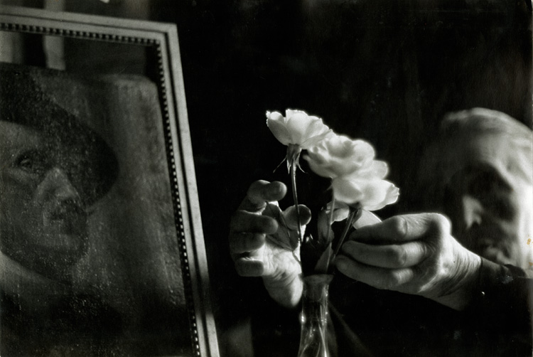 Bruce Davidson, Widow of Montmartre, Mme. Fauché (Hands Fixing Flowers), Silver print, 9-1/2 x 14 in, 1956