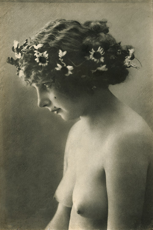 Anonymous, Female Nude with Wreathe of Flowers, Gum print, 15-1/2 x 9 -1/4 in, 1910c/1910c