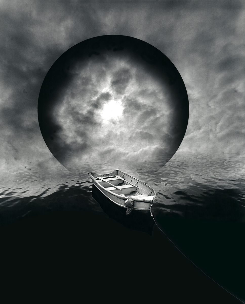 Jerry Uelsmann, Boat and Moon, Catherine Couturier Gallery