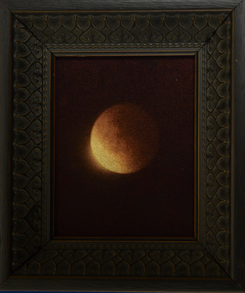 Lunar Eclipse II Sept, 2015 airplane window, orotone, Kate Breakey, Catherine Couturier Gallery
