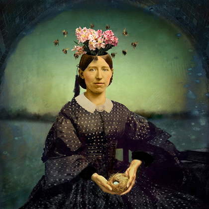 woman with bees catherine couturier gallery houston texas