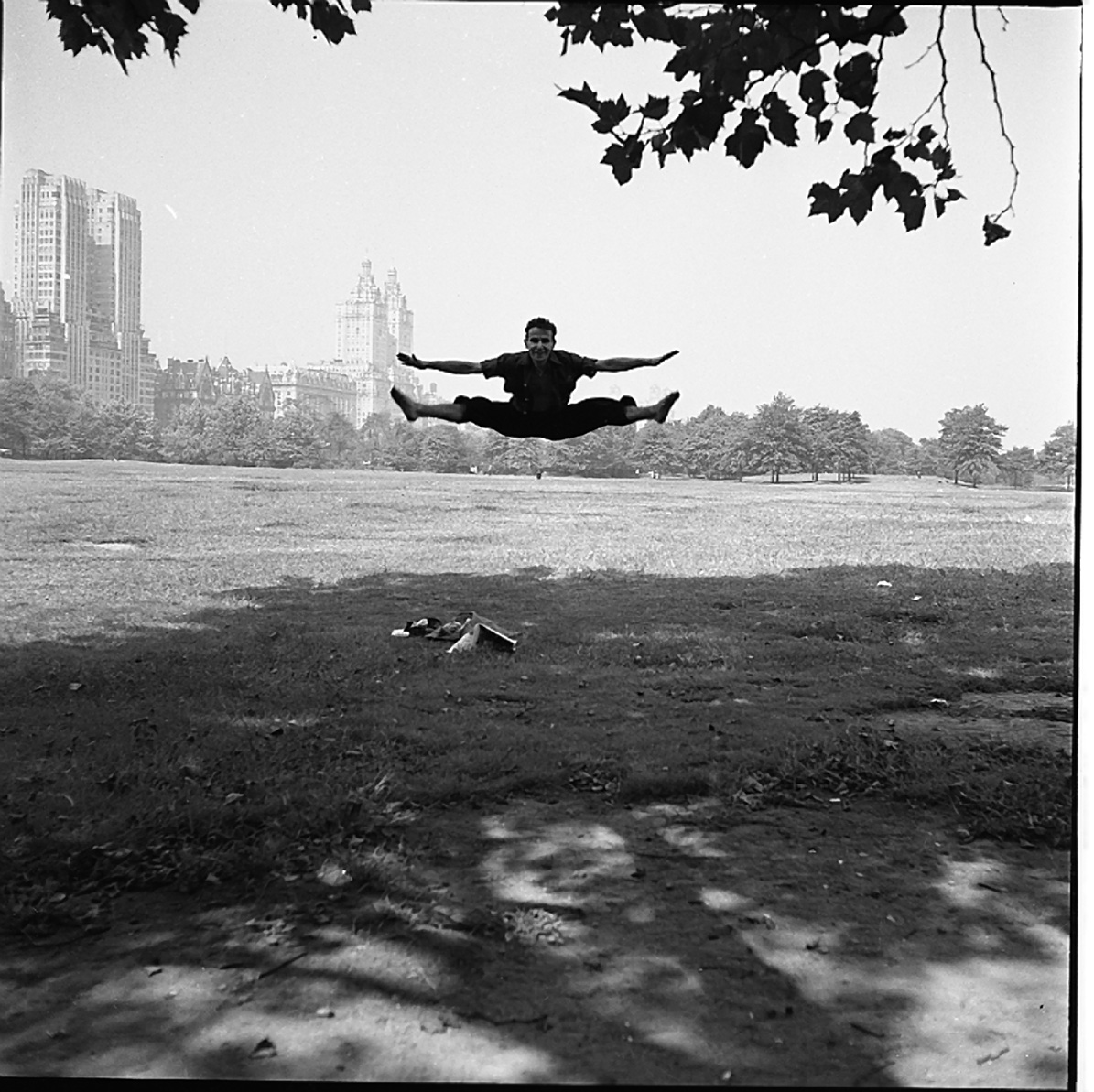 Vivian Maier, Man Doing Splits in Mid Air, Central Park, NY, 1955