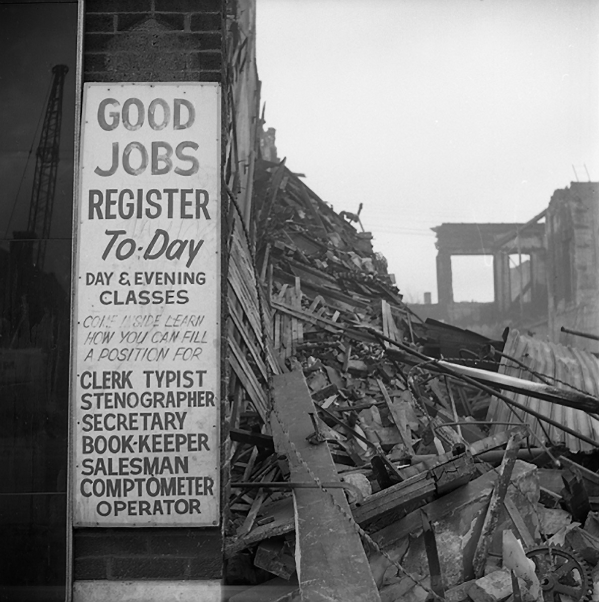 "Vivian Maier, ""Good Jobs"" Sign, Demolition Site, Chicago, 1968"